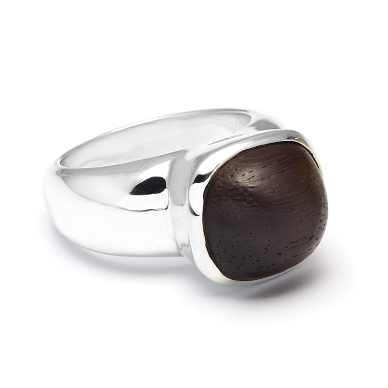 Wood Domed Silver Ring