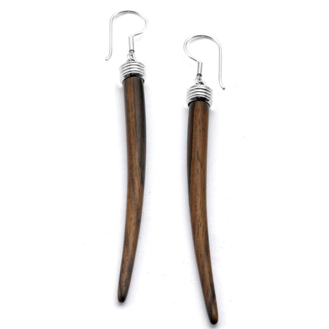 Silver Capped Wooden Tusk Earrings