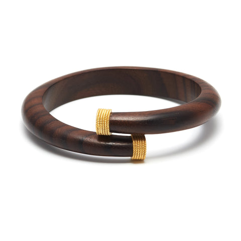 Gold Capped Wooden Wrap Bangle