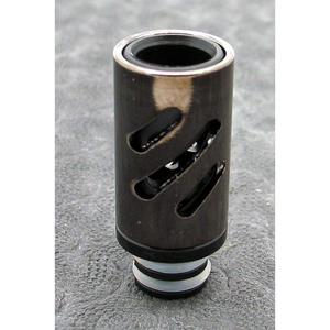 Brass and Resin AFC Hybrid 510 Drip Tip Black Slashes - MaxVaping