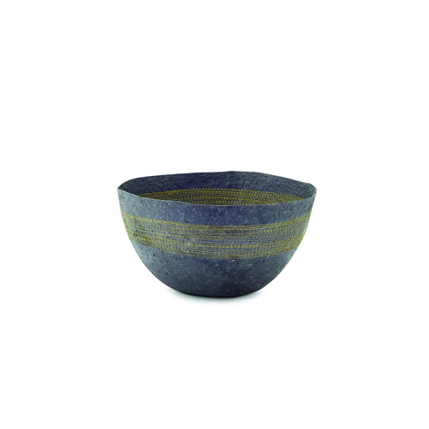 Yellow Stitched Charcoal Pulp Bowl - Swaziland