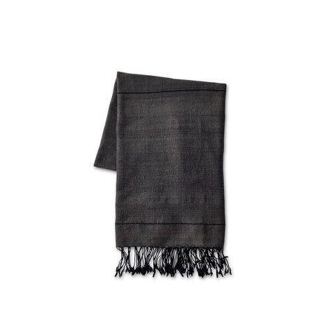 Dark Grey Striped Cotton Beach Towel - Ethiopia