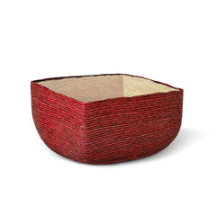 Small Red + Natural Square Basket