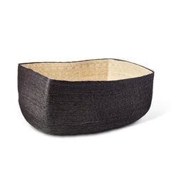 Black + Natural Rectangular Basket
