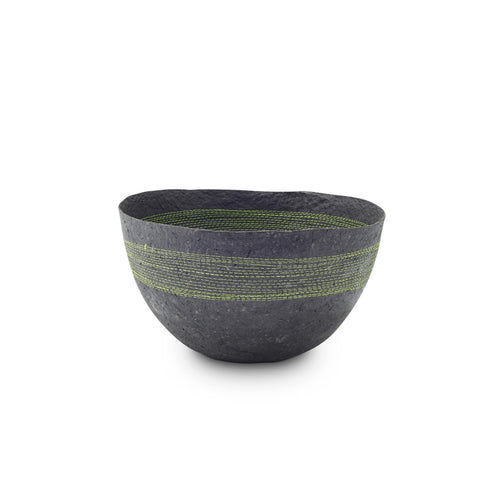 Green Stitched Charcoal Pulp Bowl - Swaziland
