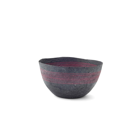 Medium Pink Stitched Charcoal Pulp Bowl - Swaziland