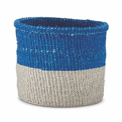 Large Blue & Grey Colour Block Basket - Kenya