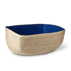 Natural + Indigo Rectangular Basket
