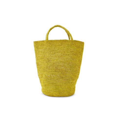 Solid Yellow Woven Rafia Handbag - Madagascar