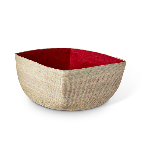 Medium Natural + Red Square Basket