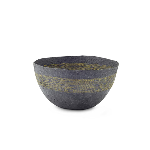 Large Yellow Stitched Charcoal Pulp Bowl - Swaziland