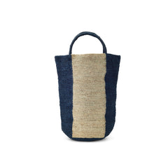 Navy/White Striped Woven Rafia Handbag - Madagascar