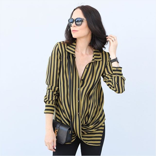 Fifideluxe Gold Hawk Silk Stripe Top