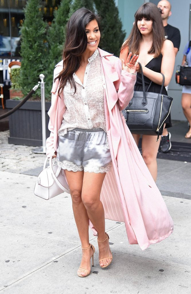 Kourtney Kardashian Gold Hawk Floral Lace Silk Shorts