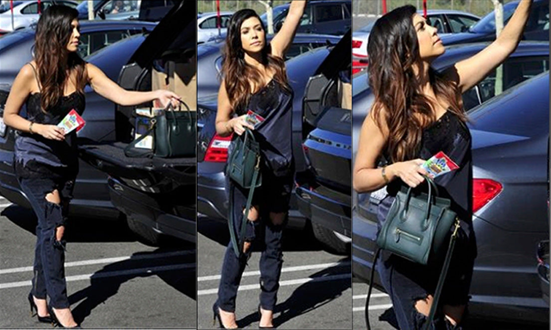 Kourtney Kardashian Gold Hawk Lace Silk Cami