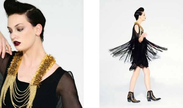 Line Magazine Gold Hawk Fringe Top