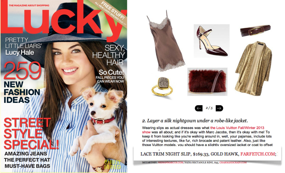 Lucky Magazine Gold Hawk Lace Slip