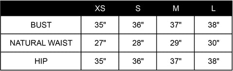 Gold Hawk Size Guide Chart