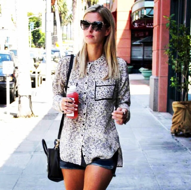 Nicky Hilton Gold Hawk Silk Printed Shirt