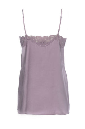 The back of CC Silk Lace Cami in mauve fog.