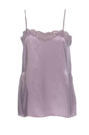 The CC Silk Lace Cami in mauve fog.