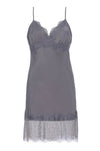 The Vintage Lace Silk Slip Dress in excalibur.
