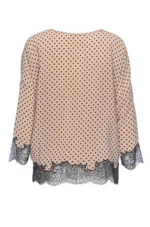 Polka Dot Silk Lace Top