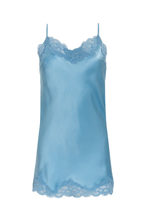The Floral Lace Silk Tunic in baby blue.