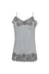 The Marilyn Lace Silk Cami in ice grey with steeple grey lace.