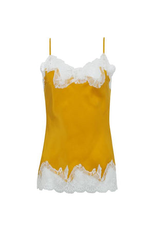 The Marilyn Lace Silk Cami in gold with vintage ivory lace.