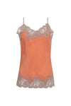 The Marilyn Lace Silk Cami in coral with pale mauve lace.