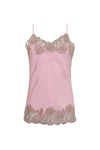 The Marilyn Lace Silk Cami in ballerina pink with mauve lace.