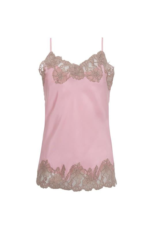 c05ffc68dbbca The Marilyn Lace Silk Cami in ballerina pink with mauve lace.