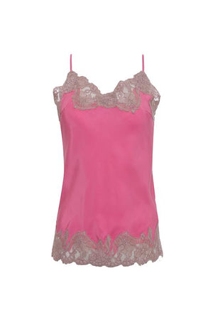 The Marilyn Lace Silk Cami in rose with muted rose lace.