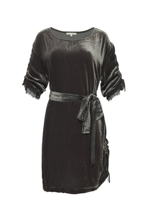 Velvet T-Shirt Dress Rouched