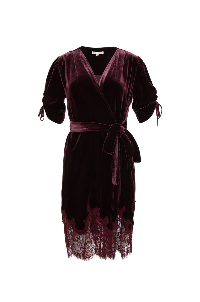Velvet Lace Wrap Dress