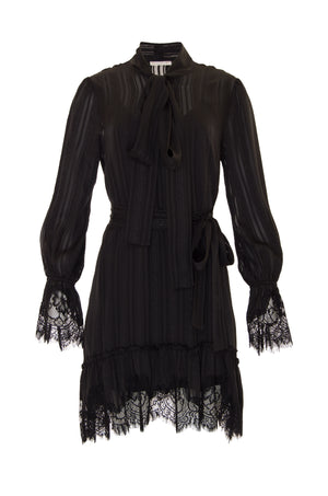 The Jacquard Silk Front Tie Lace Dress in black.