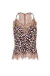 The Silk Print Racerback Lace Cami in pink animal leopard print.