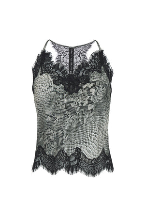 The Python Silk Print Racerback Lace Cami in grey python.