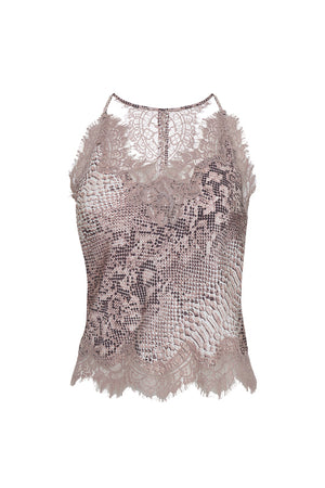 The Python Silk Print Racerback Lace Cami in muted rose python.