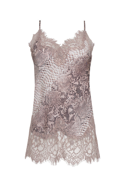 bbfbc2885ea8f The Python Coco Silk Print Lace Cami in muted rose python.