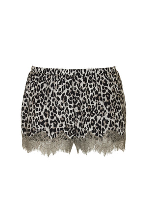 The Silk Print Coco Lace Shorts in grey animal leopard print.