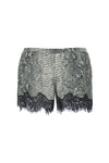 The Python Silk Print Coco Lace Shorts in grey python.