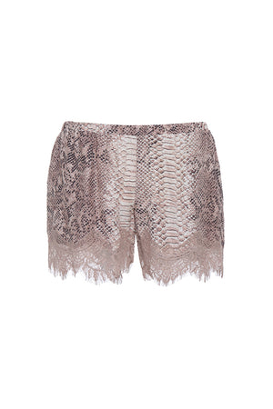 The Python Silk Print Coco Lace Shorts in muted rose python.