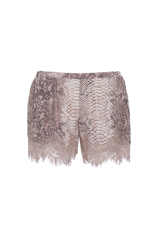 Python Silk Print Coco Lace Shorts