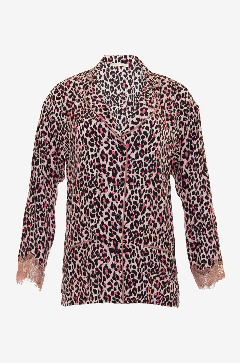 The Animal Print PJ Silk Shirt in pink leopard print.