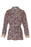 The Animal Print PJ Silk Shirt in pink leopard print with matching sash tied around the waist.