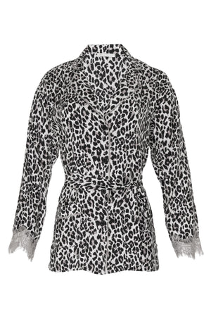 The Animal Print PJ Silk Shirt in grey leopard print with matching sash tied around the waist.