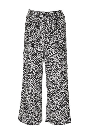 The Silk Print Wide Leg Pants in grey leopard animal print.