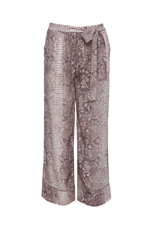 The Python Silk Print Wide Leg Pants in muted rose python.